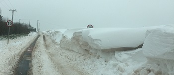 Snow drifts in South Wales